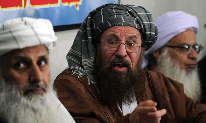 Photo from February 4, 2014 shows members of the TTP's peace talks team, Maulana Abdul Aziz (R) Maulana Sami-ul-Haq (C) and Professor Ibrahim Khan (L).—AFP Photo