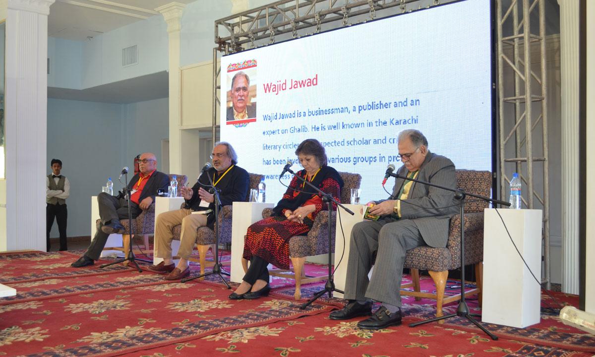 From (L to R) Mahmood Jamal, Bari Mian (Moderator of the session), Moneeza Hashmi (daughter of Faiz Ahmed Faiz) and Wajid Jawad. – Photo by Quratulain Choudhry
