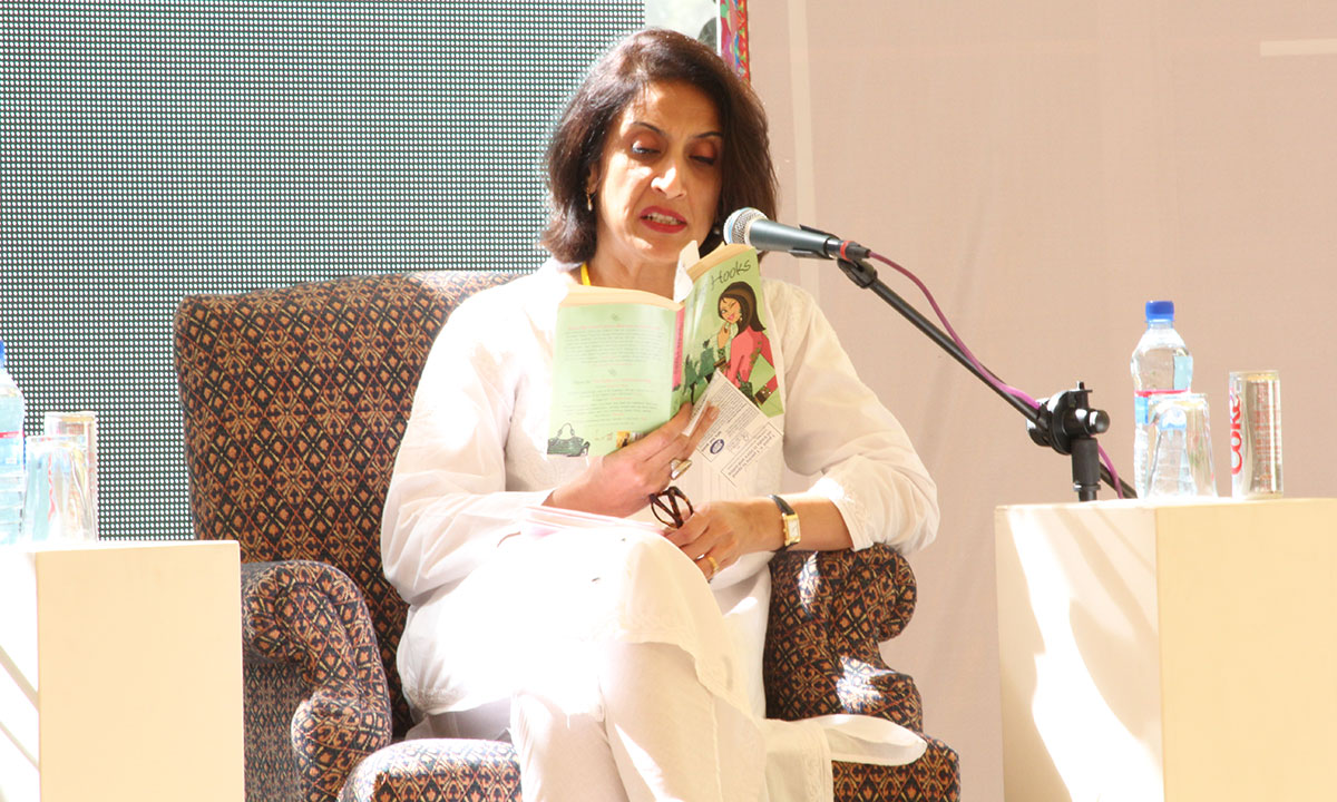 Moni Mohsin reading in character as the Butterfly. – Photo by Asif Umar