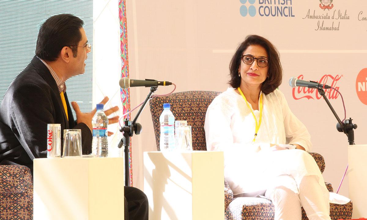Raza Rumi in conversation with Moni Mohsin. – Photo by Asif Umar