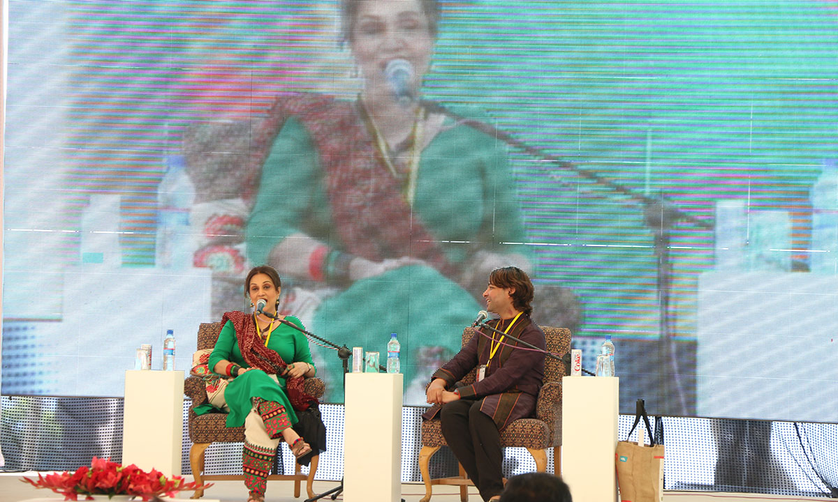 Bushra with moderator Ali Saleem. – Photo by Kurt Menezes
