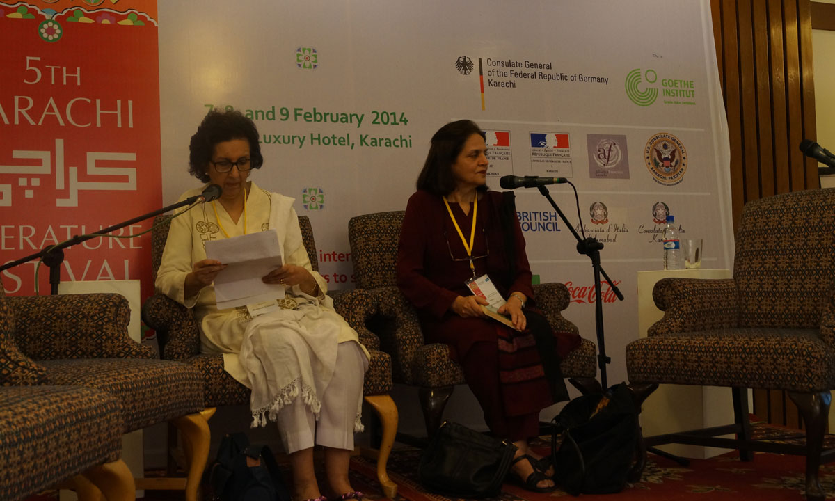 Muneeza Shamsie (L) and Rukhsana Ahmad from the session, Memory and the Imagination. – Photo by Taahira Booya