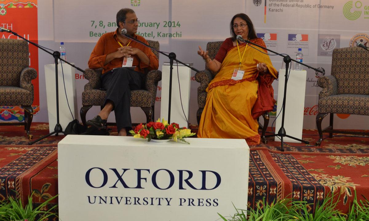 Moderator Haris Gazdar (L) with Rumana Husain. – Photo by Quratulain Choudhry