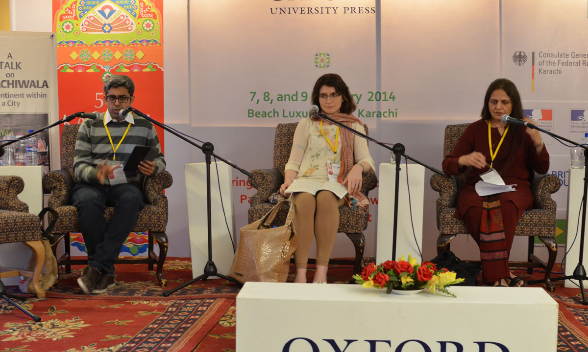 From L to R: Moderator Bilal Tanweer with Claire Chambers and Rukhsana Ahmad. – Photo by Quratulain Choudhry
