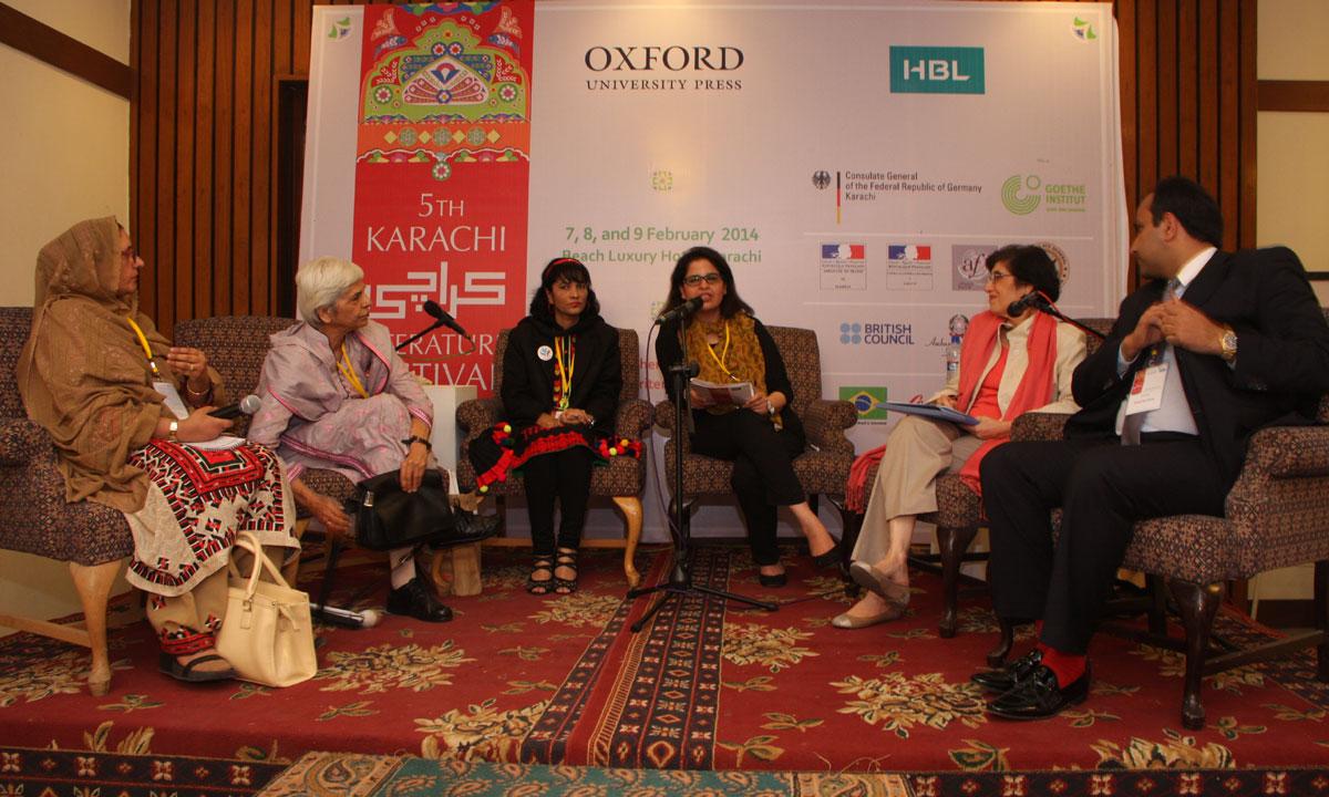 From L to R: Yasmin Mehta, Zubeida Mustafa, Nargis Sultana, Shaha Jamshed (moderator), Zubaida Jalal and Faisal Mushtaq. – Photo by Aliraza Khatri