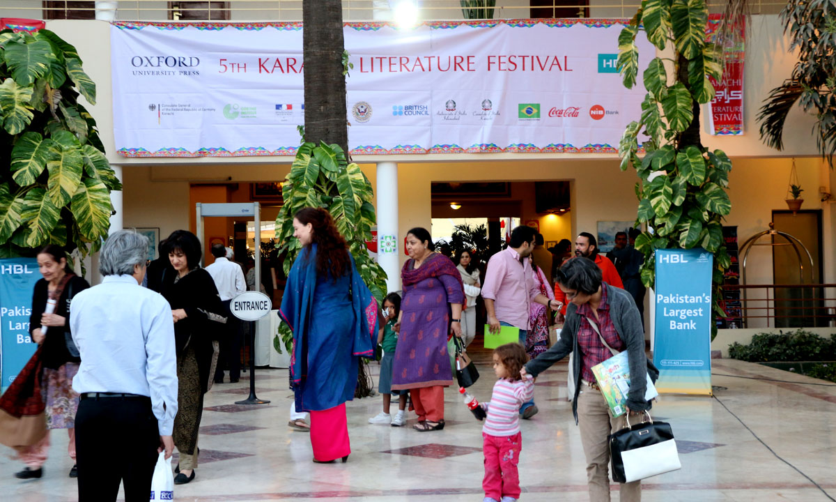 People leaving the Karachi Literature Festival after the sessions. – Photo by Kurt Menezes