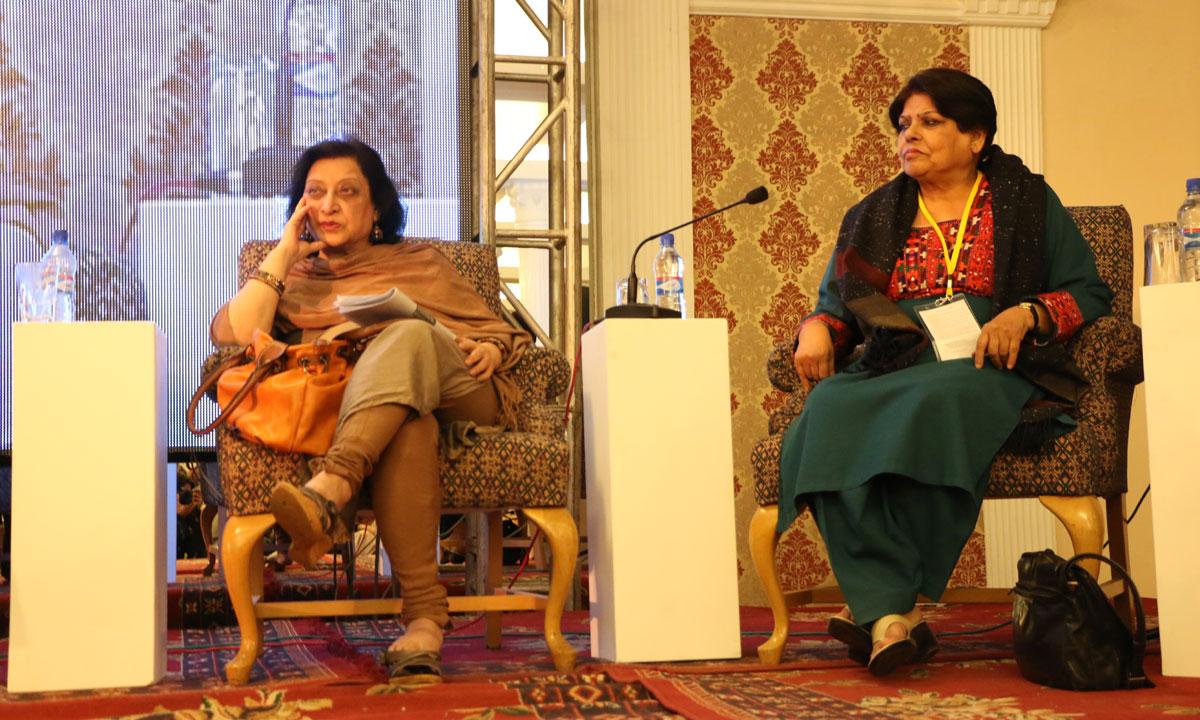 Fahmida Riaz (L) and Kishwar Naheed. – Photo by Kurt Menezes