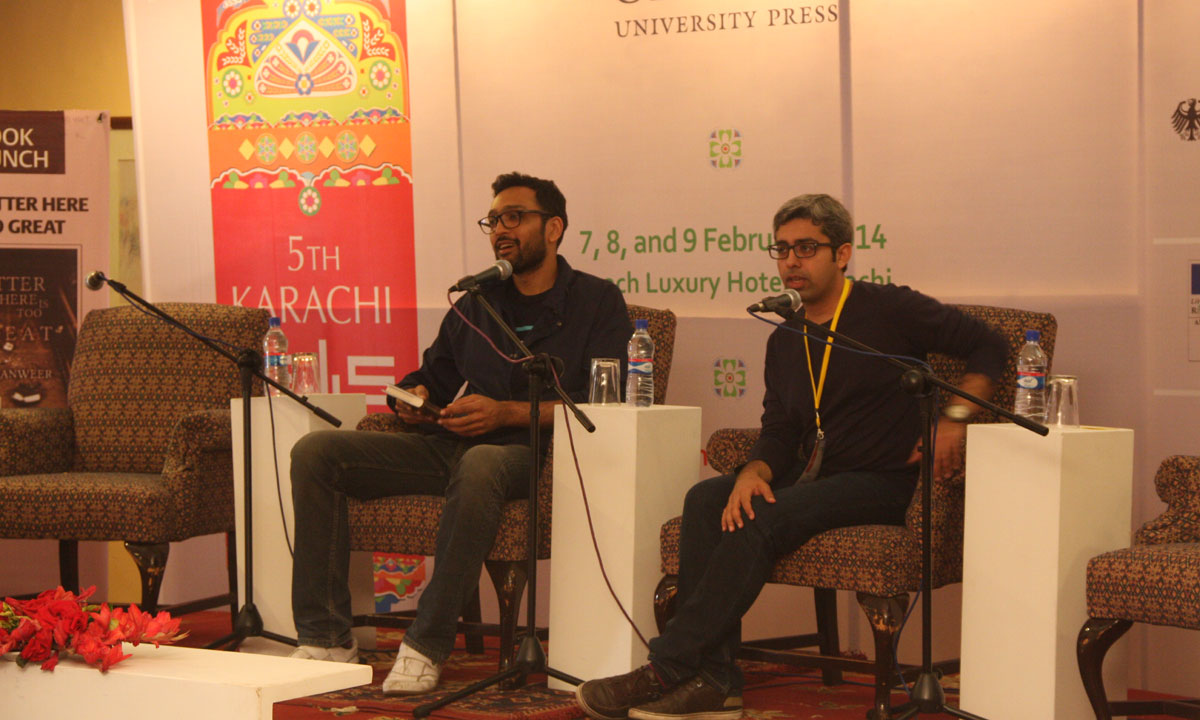 Moderator, Ali Sethi (L), with Bilal Tanweer. – Photo by Aliraza Khatri