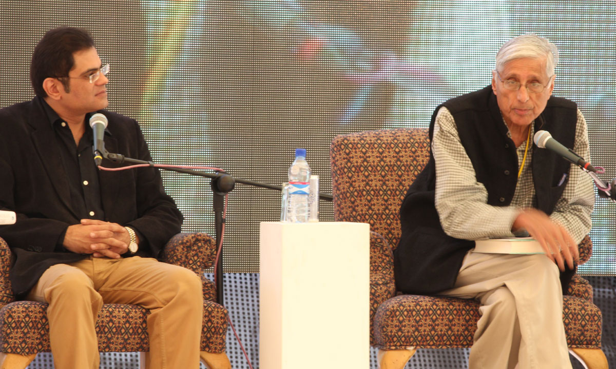 Moderator, Raza Rumi, with Dr Rajmohan Gandhi. – Photo by Asif Umar