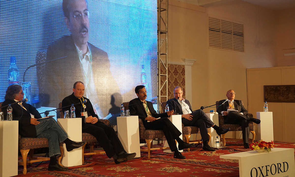 From L to R: Gazi Salahuddin, Thomas Brussig, Amin Hashwani, Tilo Klinner and Zafar Hilaly. – Photo by Taahira Booya