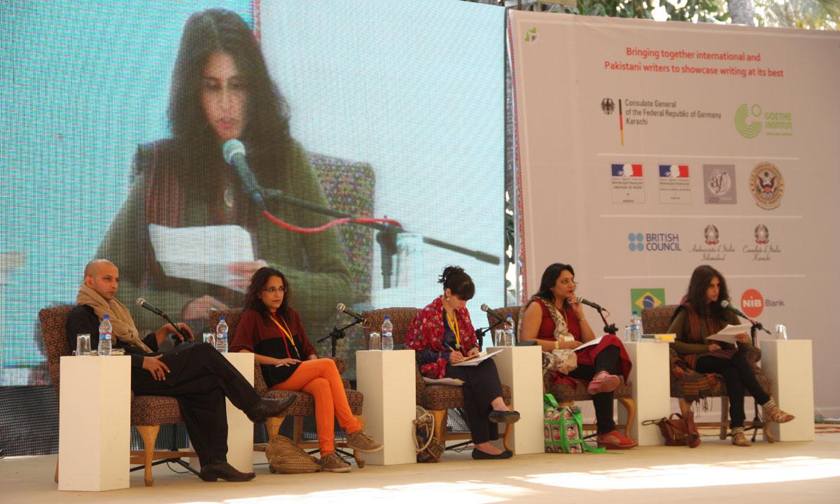 H.M. Naqvi, Shandana Minhas, Madeline Clements (moderator), Bina Shah and Uzma Aslam Khan. – Photo by Aliraza Khatri