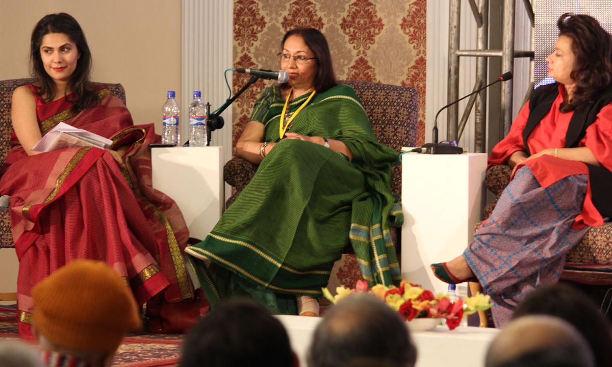 From L to R: Alia Iqbal Naqvi (moderator), Rumana Husain and Asma Ibrahim. – Photo by Asif Umar