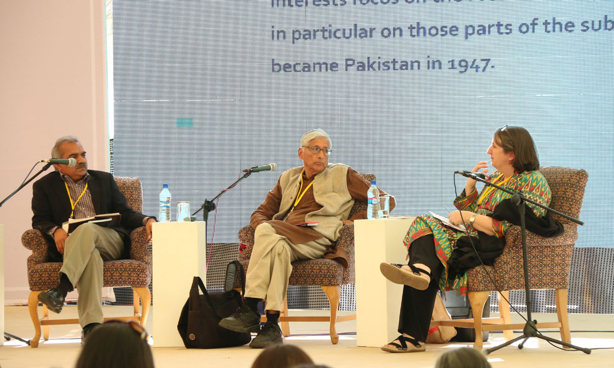 From L to R: Zaffar Junejo (moderator), Dr Rajmohan Gandhi and Sarah Ansari. – Photo by Kurt Menezes