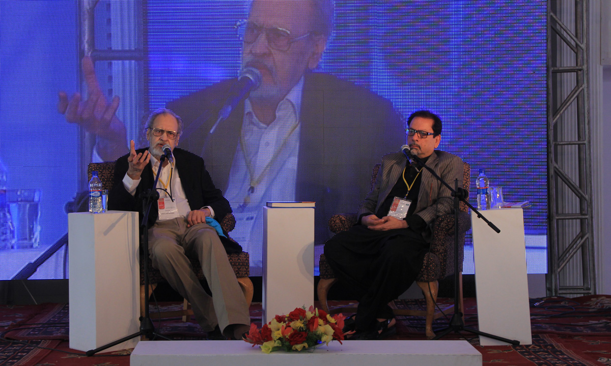 Abdullah Hussain (L) with Muhammad Ahmed Shah (moderator). – Photo by Aliraza Khatri