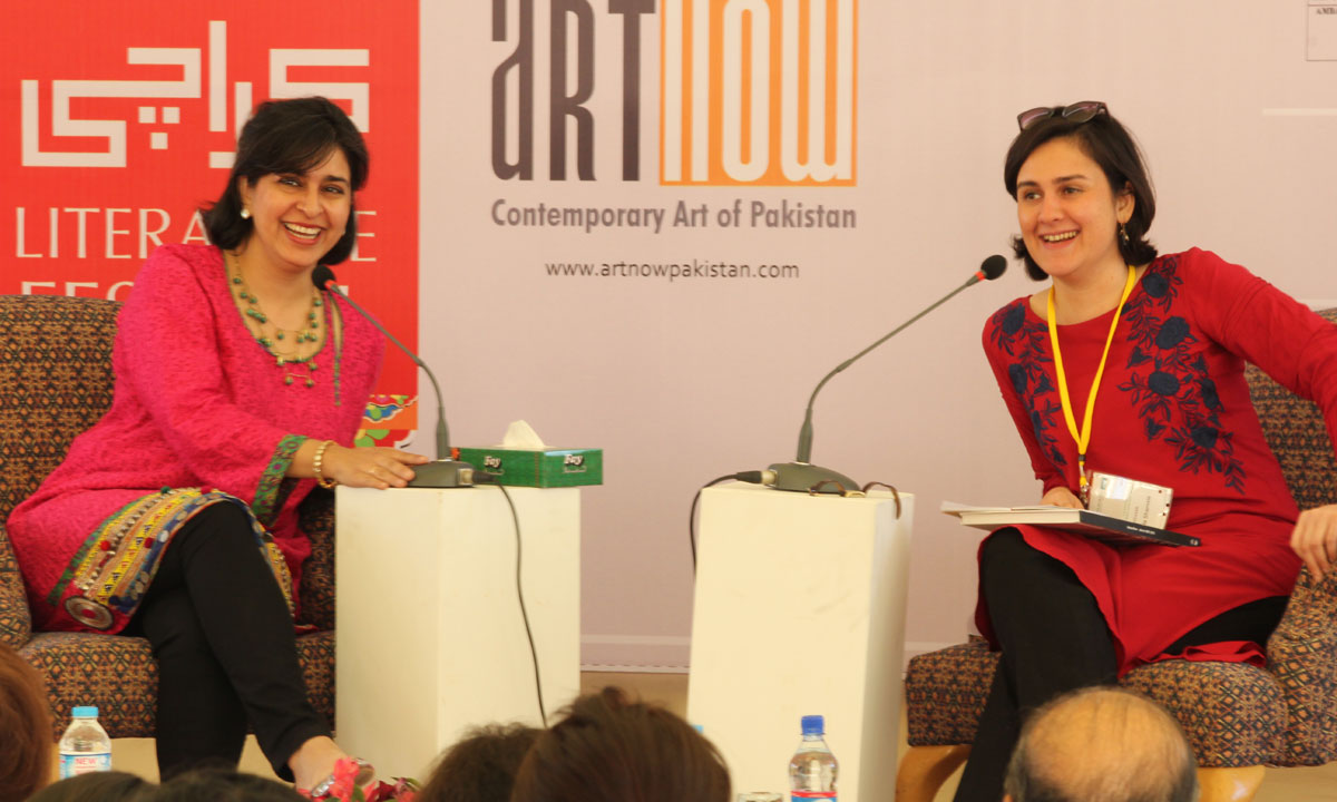 Nahid Siddiqui (L) with Kamila Shamsie. – Photo by Asif Umar