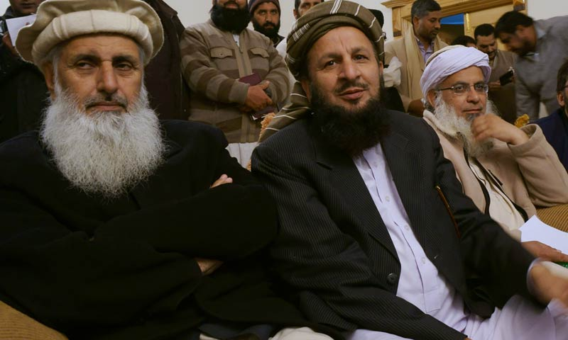 Professor Ibrahim Khan, Maulana Yousuf Shah and Maulana Abdul Aziz attend a joint news conference after their talks with government representatives in Islamabad, Feb 6, 2014. — File Photo by AP