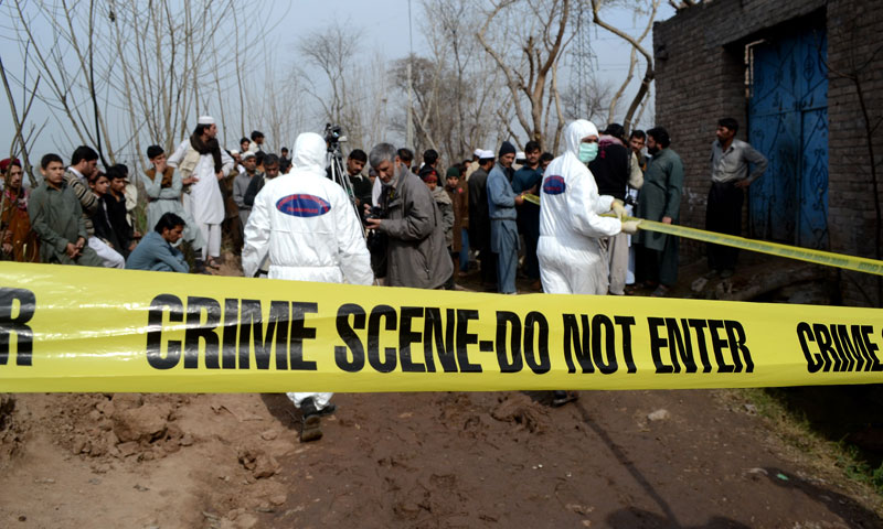 Six kilograms of high-grade explosives and pellets were used in the blast, said senior bomb disposal squad official Shafqat Malik.—Photo by Zahir Shah Sherazi