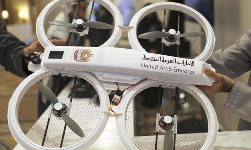An unmanned aerial drone is displayed during Virtual Future Exhibition, in Dubai February 9, 2014. The United Arab Emirates says it plans to use unmanned aerial drones to deliver official documents and packages to its citizens as part of efforts to upgrade government services. Picture taken February 9, 2014. — Photo by Reuters
