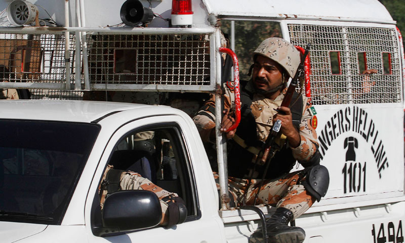 An explosion took place near a Rangers' vehicle in Karachi's Qayyumabad area injuring two personnel. — File photo