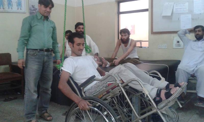 A paraplegic recieving  training with a wheelchair.  — Photo coutesy Paraplegic Centre Peshawar facebook page