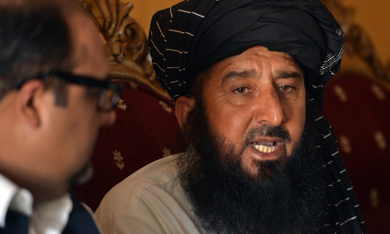 In this photograph taken on June 6, 2013,  Kareem Khan speaks to media during a press conference in Islamabad. – AFP