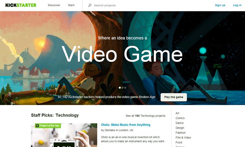 Screenshot of Kickstarter's website pictured.