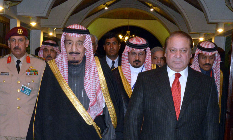 The then premier Nawaz Sharif welcomes the then Saudi crown prince, Salman bin Abdul Aziz Al-Saud, upon the latter's arrival at the PM House in 2014. – AFP Photo