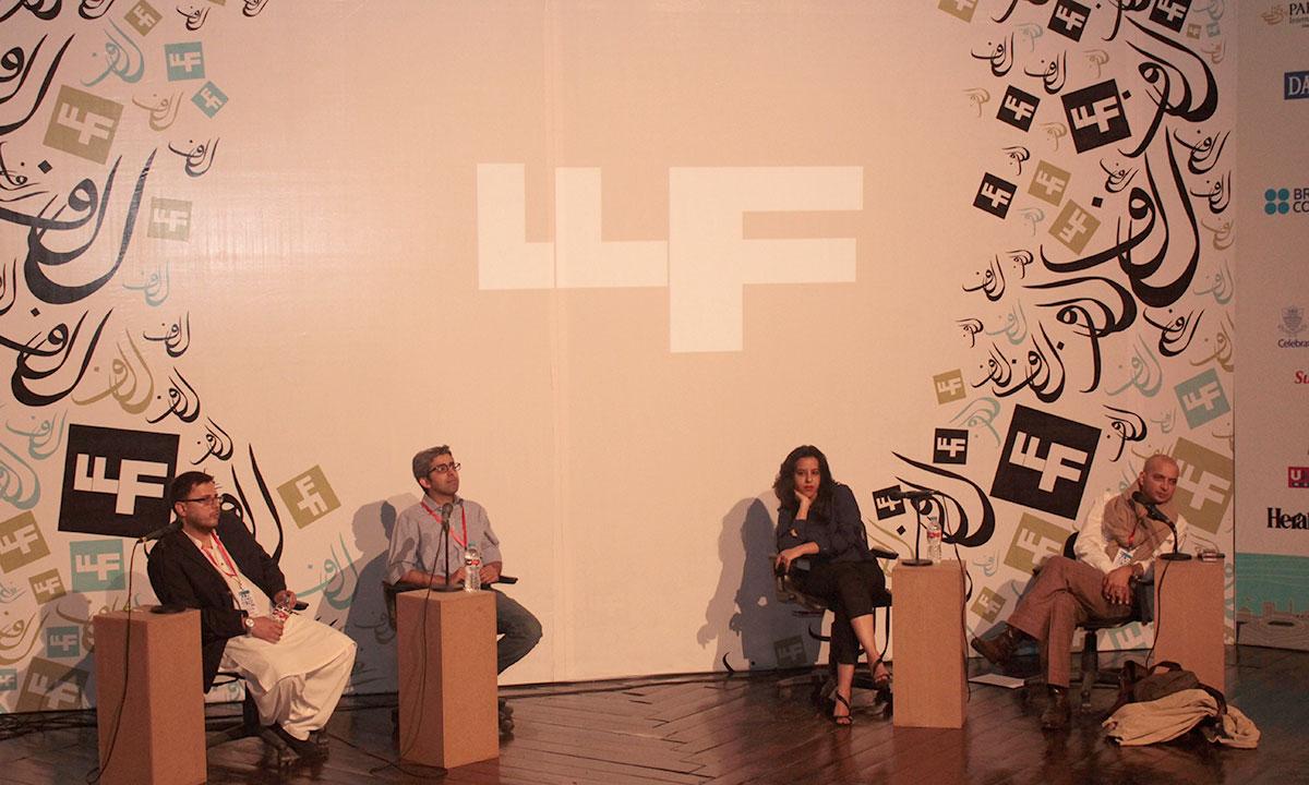 From L to R: Omar Shahid Hamid, Bilal Tanweer, Saba Imtiaz and H. M. Naqvi. – Photo by Hamza Cheema