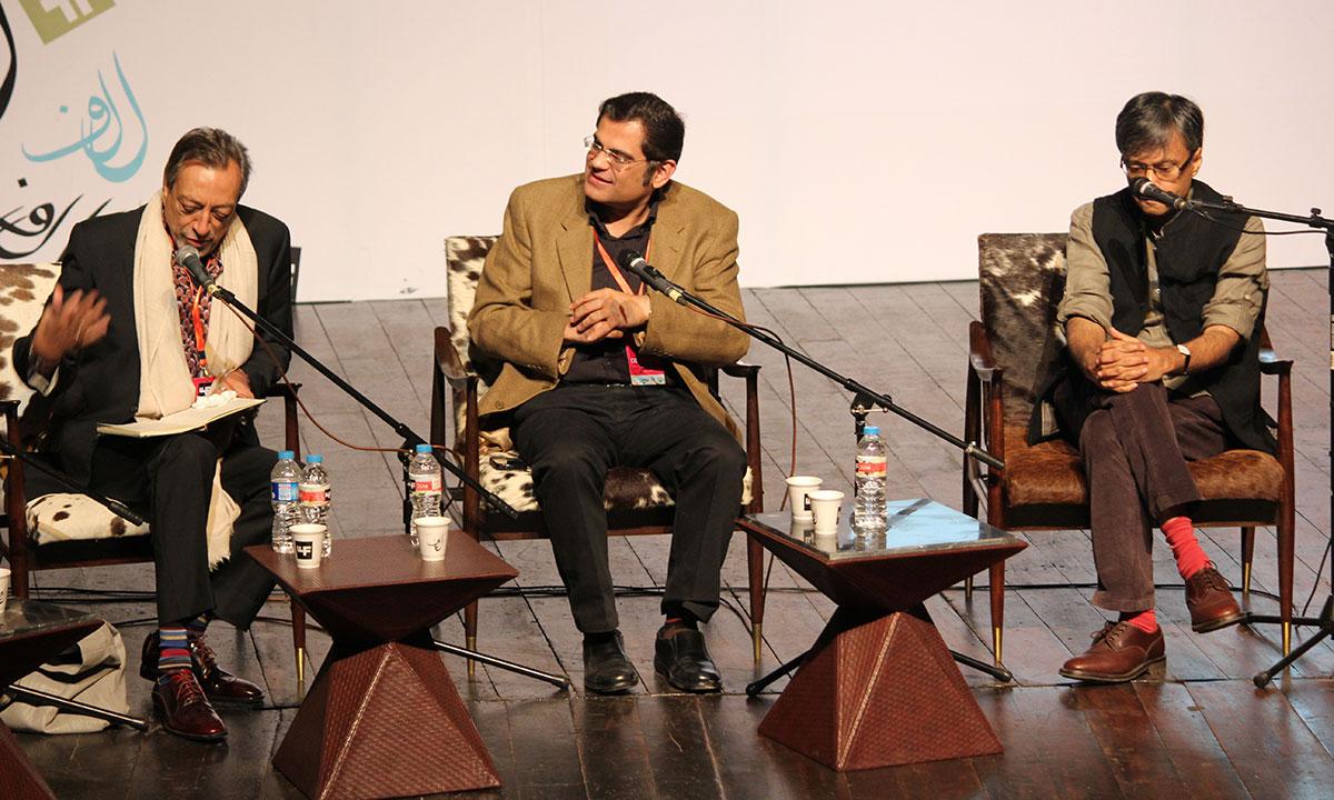 From L to R: Shahid Zahid, Raza Rumi and Amit Chaudhuri. – Photo by Asif Umar