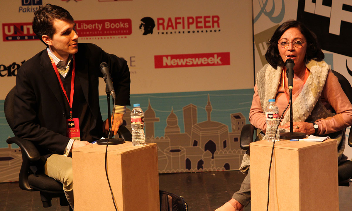 Samia Mehrez with Hugh Eakin. – Photo by Asif Umar