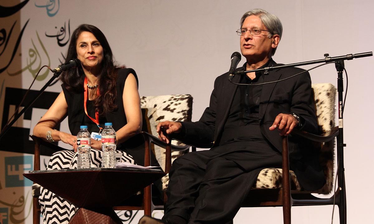 Shobhaa De´ with Aitzaz Ahsan. – Photo by Asif Umar