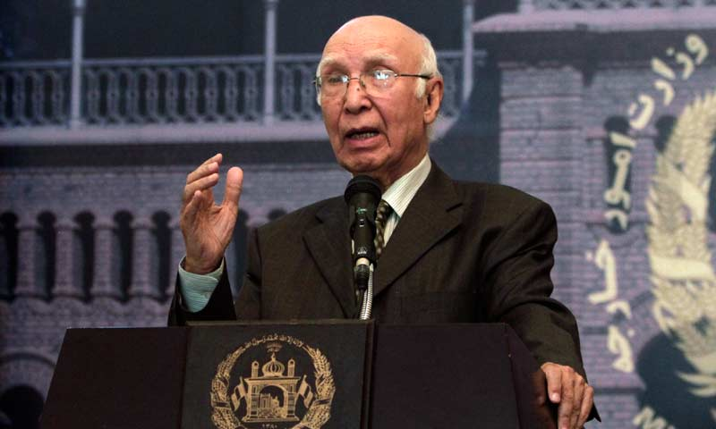 Adviser to Prime Minister on Foreign Affairs and National Security Sartaj Aziz. — File photo