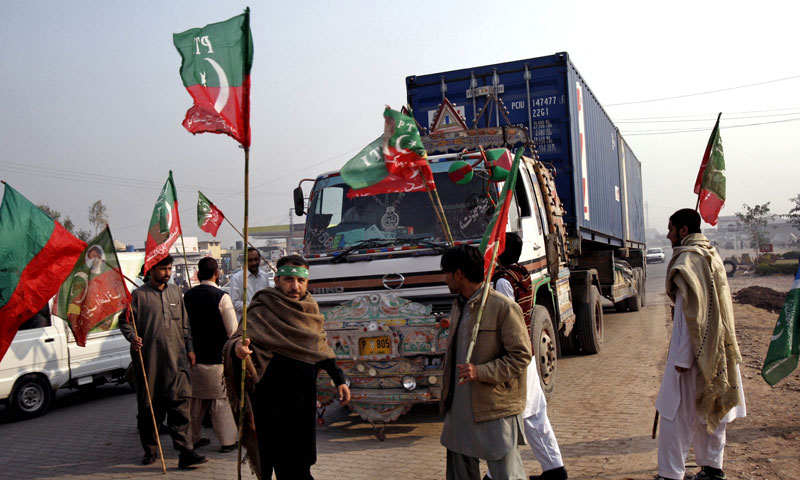 The PTI had blocked the supply route in protest over US drone strikes. -File Photo