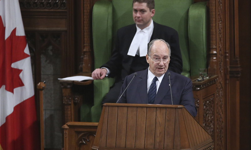 The Aga Khan, spiritual leader of Ismaili Muslims, addresses a joint session of Parliament as House of Commons Speaker Andrew Scheer listens in Ottawa February 27, 2014. – Reuters Photo