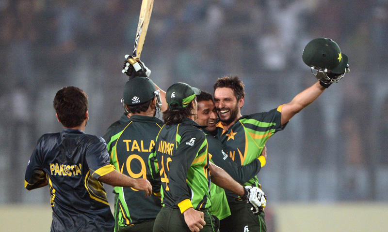 Sahid Afridi reacts after winning the sixth match of the Asia Cup one-day cricket tournament between India and Pakistan at the Sher-e-Bangla National Cricket Stadium in Dhaka on March 2, 2014. – AFP