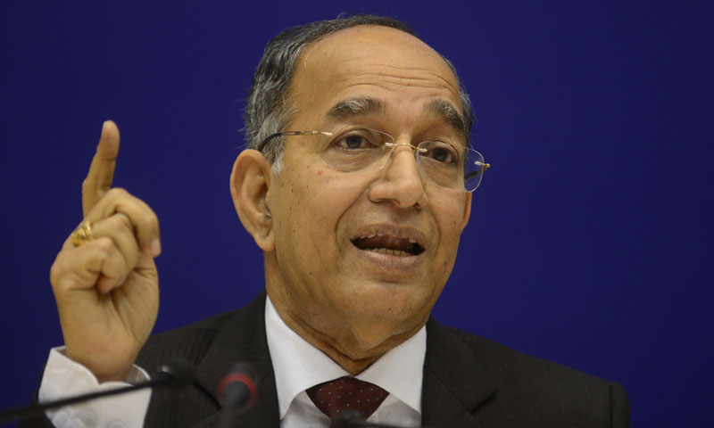 India's Chief Election Commissioner  V.S. Sampath announces dates for the country's parliamentary elections during a press conference in New Delhi on March 5, 2014. — Photo by AFP