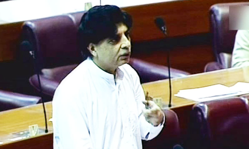 Pakistan's Interior Minister Chaudhry Nisar Ali Khan speaks during a National Assembly session. – File Photo