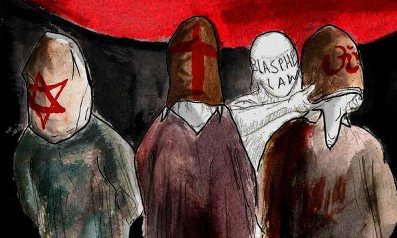 Blasphemy is a highly sensitive issue in Pakistan, where 97 per cent of the 180 million population are Muslims. — Illustration by Faraz Aamer Khan/Dawn.com