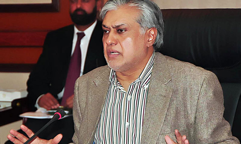 Federal Minister for Finance Senator Ishaq Dar speaks during a press briefing on Pakistan Development Fund Project at PM Secretariat in Islamabad on Saturday. – Photo by APP