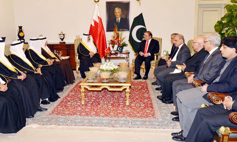 PM Nawaz Sharif leads delegation level talks with King of Bahrain Hamad bin Isa bin Salman Al-Khalifa at PM House in Islamabad on Tuesday. – INP Photo