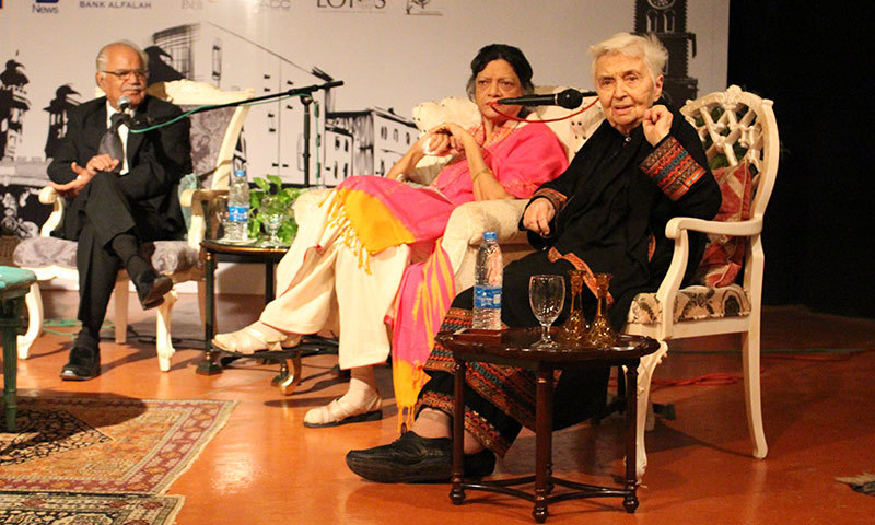 Dr Ruth Pfau speaking at the Qissa Khwani talk at the PACC. – Photo by Mahjabeen Mankani