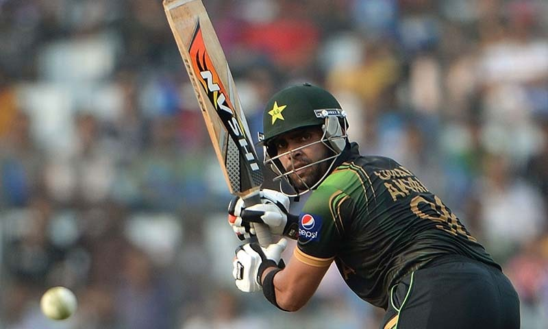 Pakistan batsman Umar Akmal plays a shot during the ICC World Twenty20 tournament cricket match between Australia and Pakistan at The Sher-e-Bangla National Cricket Stadium in Dhaka on March 23, 2014.  — Photo by AFP