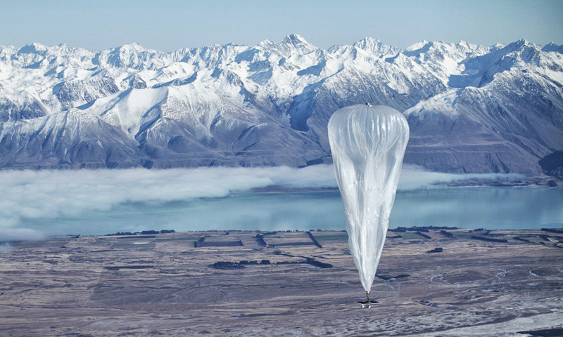 In this June 10, 2013 photo released by Jon Shenk, a Google balloon sails through the air with the Southern Alps mountains in the background, in Tekapo, New Zealand. — AP Photo