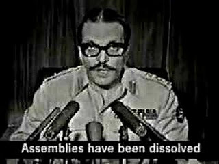 Zia announcing the imposition of Martial Law on PTV (July 1977).
