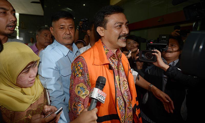 Former Youth and Sport minister Andi Mallarangeng arrives at the corruption court in Jakarta. — Photo by AFP