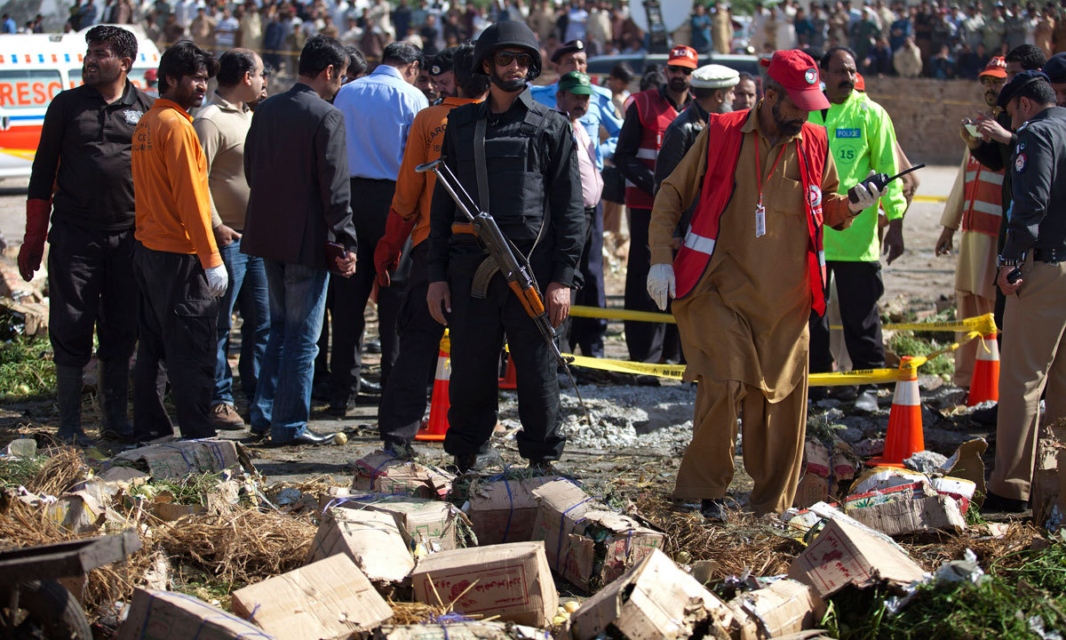 Police cordon off the area of a blast in Islamabad, Pakistan, Wednesday. – Photo by AP