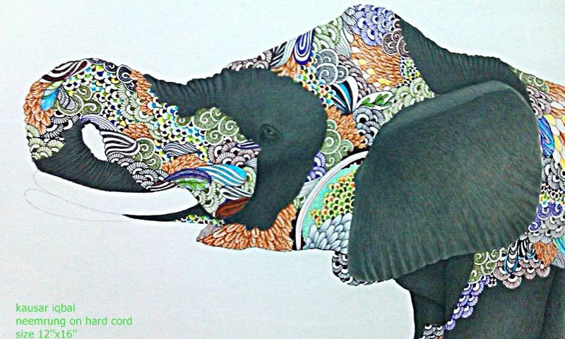 Miniature series on the elephant depicting human strength and resilience by Lahore-based artist Kausar Iqbal. -Photo courtesy Dr Arif Mahmood