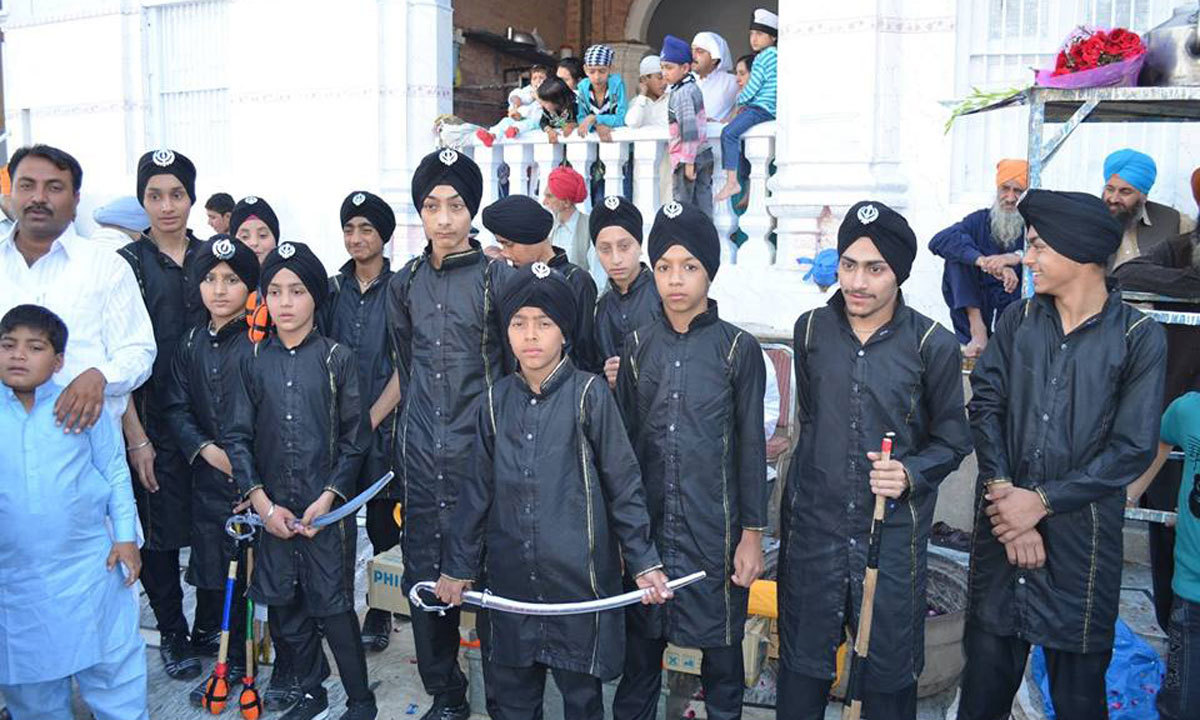 Sikh boys are ready for the gathering of Nagar Kirtan which is a Sikh custom involving the processional singing of holy hymns on third day of besakhi.
