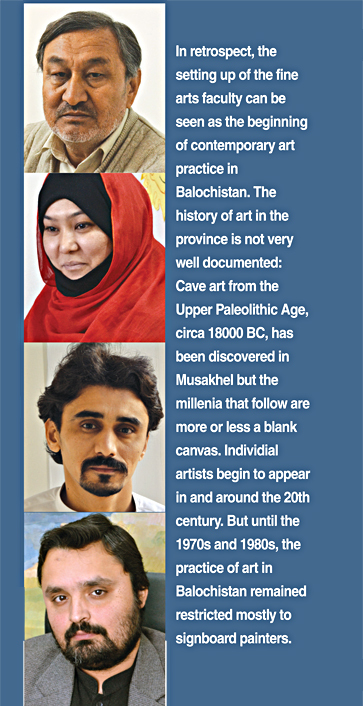 From top to bottom: Artists Fazil Mousavi, Shazia Batool, Hammal Khan, Syed Mubarak Shah
