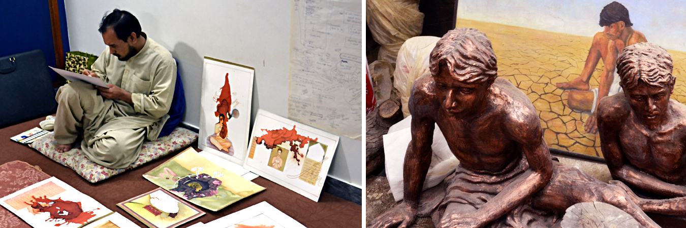 Left to right: Syed Sajjad Hussain in his studio; The fine arts and sculpture studio at IT University.